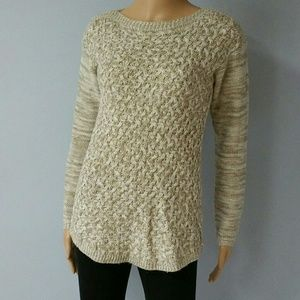 Beige and white crochet sweater. Size XS